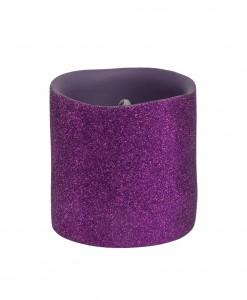 3 Inch Purple Glitter LED Candle