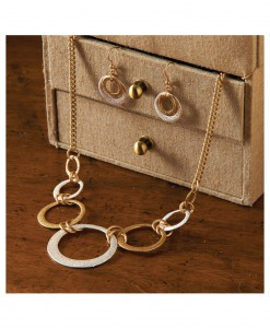 Silver and Gold Hoop Necklace