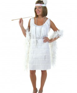 Plus Size White Flapper Girl Costume