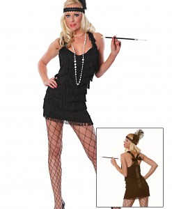 Sexy Black Lindy Lace Flapper Costume