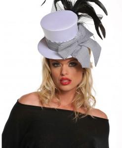 Mini White Burlesque Hat