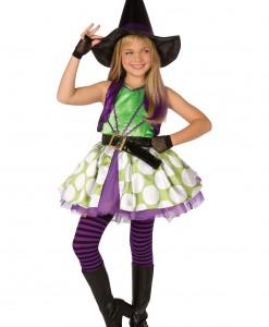 Girls Green Polka Dot Witch Costume