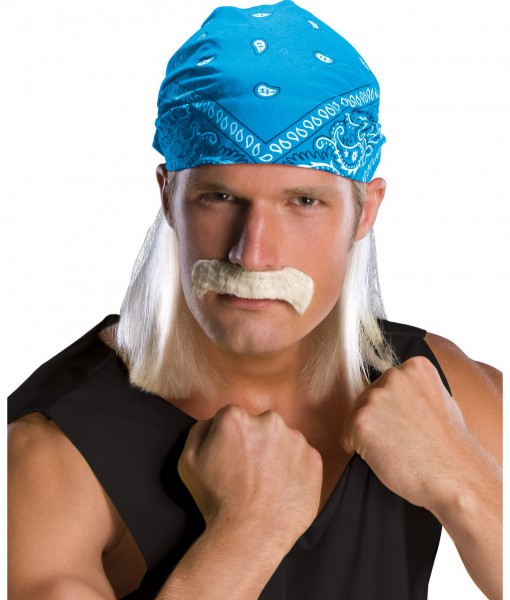 Wrestling Star Bandana Wig w/ Moustache
