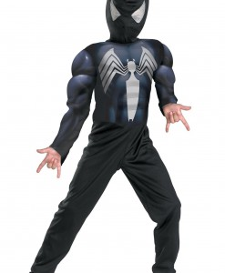 Kids Muscle Chest Black Spiderman Costume