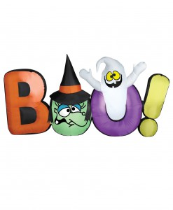 Airblown Boo Sign w/ Witch and Ghost