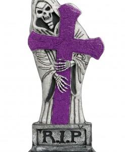 24 inch Purple Glitter Light-Up Grave Stone