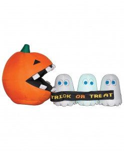 Inflatable Runaway Ghost and Pumpkin