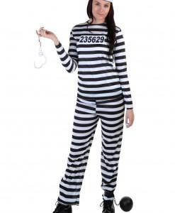 Women's Striped Prisoner Costume
