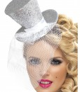 Fever Silver Glitter Mini Top Hat