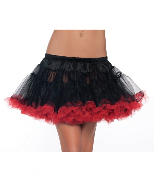 12 Black and Red 2-Layer Petticoat