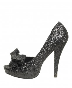 Black Glitter Peep Toe Bow Pump