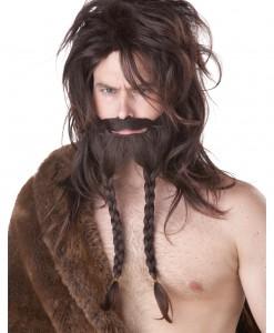 Brown Viking Wig, Beard and Mustache
