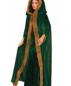 Faux Fur Trimmed Green Cape