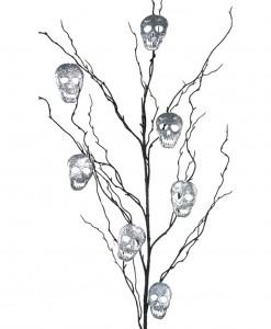 50 Black Glitter Branch w/Silver Skulls
