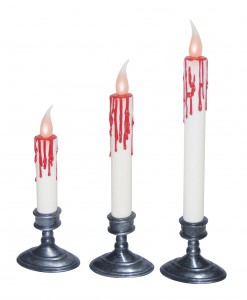 Set of 3 White Blood Dripping Candles