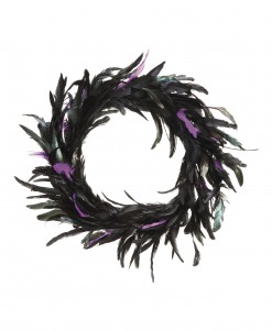 23 Inch Black and Purple Feather Wreath