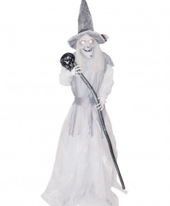 Animated Standing Ghostly Witch with Staff