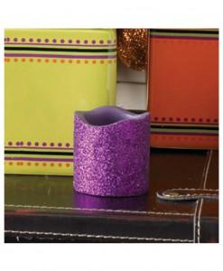 2 Inch Purple Glitter LED Candle