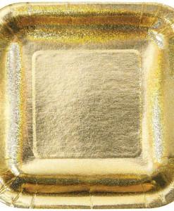 Glitz Gold Square Dinner Plates (8)