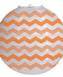 12 Round Paper Chevron Lantern - Sunkissed Orange