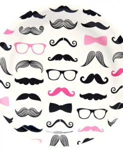 Pink Mustache Dinner Plates (8)