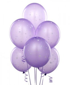 Lavender with Stars 11 Matte Balloons (6 count)