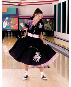 Complete Poodle Skirt Outfit (Black Pink) Adult Plus Costume