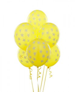 Yellow with Large White Stars 11 Matte Balloons (6 count)