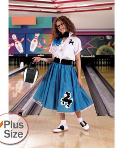 Complete Poodle Skirt Outfit (Turquoise White) Adult Plus Costume