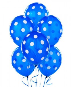 Navy with White Polka Dot 11 Latex Balloons (6 count)