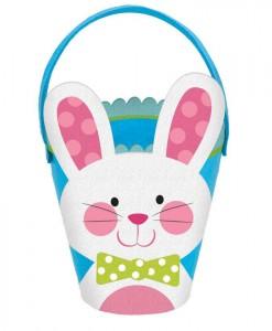 Easter Felt Bunny Bucket - Blue