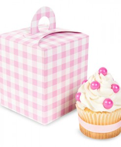 Light Pink Gingham Cupcake Boxes (4 count)