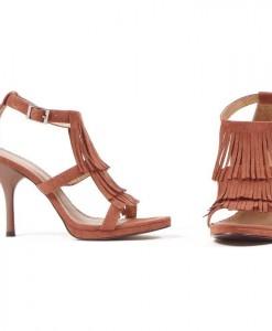 Brown Fringe High Heel Adult Shoes