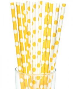 Yellow and White Dot Straws (10)